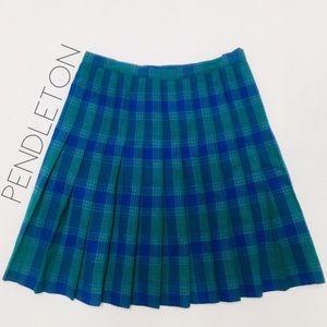 Vintage Pendleton plaid pleated midi skirt 12 XL